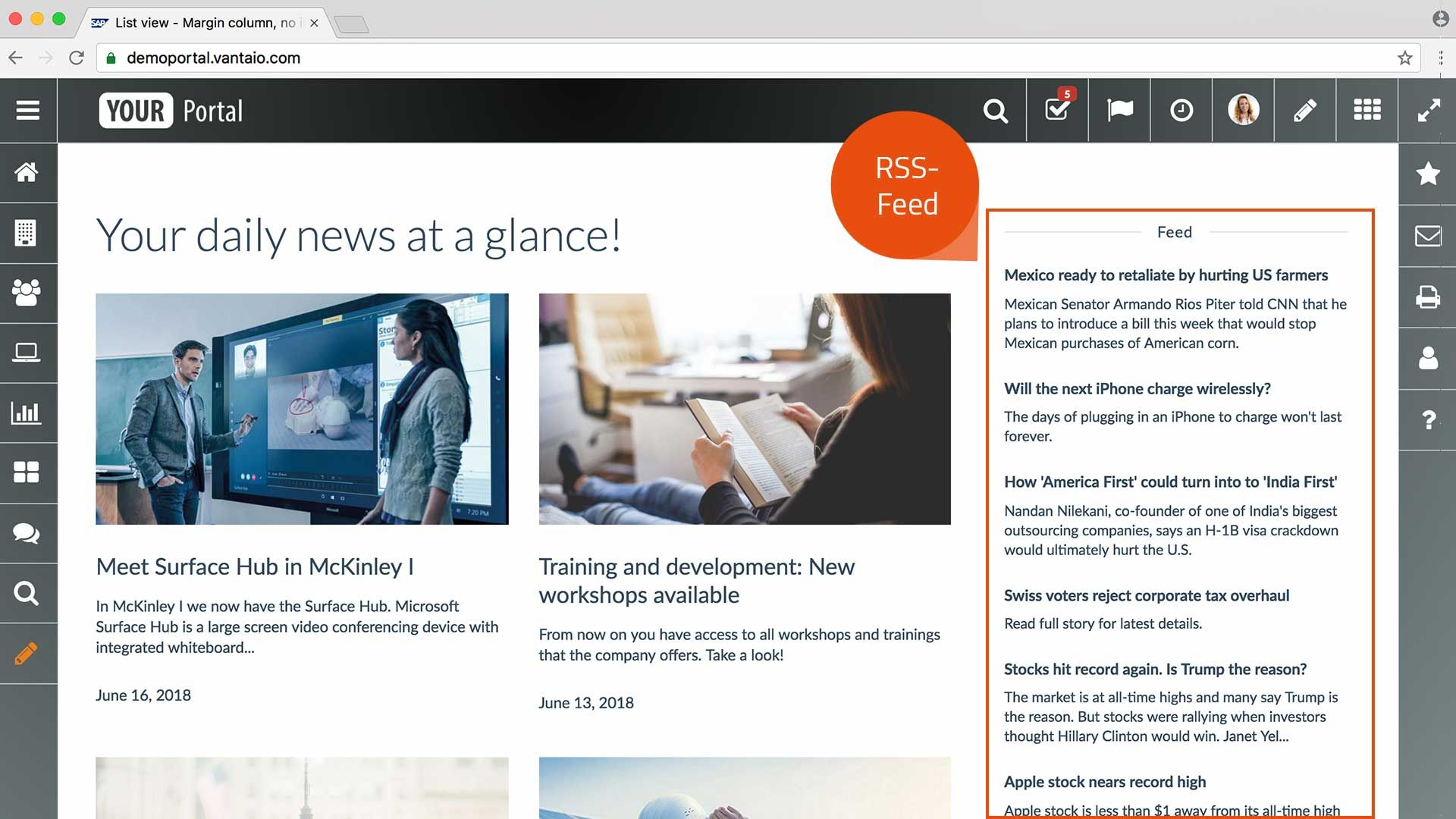 RSS Feed – Module for SAP portal solution