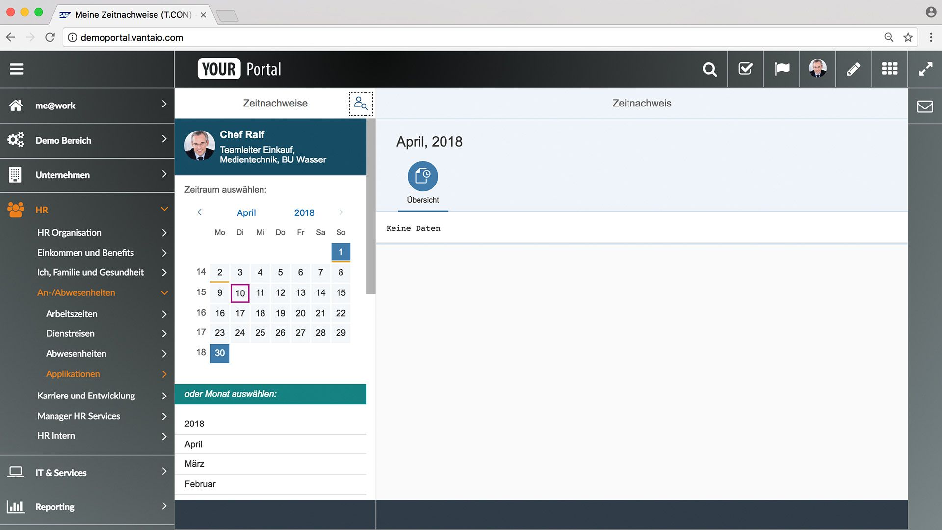 Time Statement Overview – Module for SAP portal solution